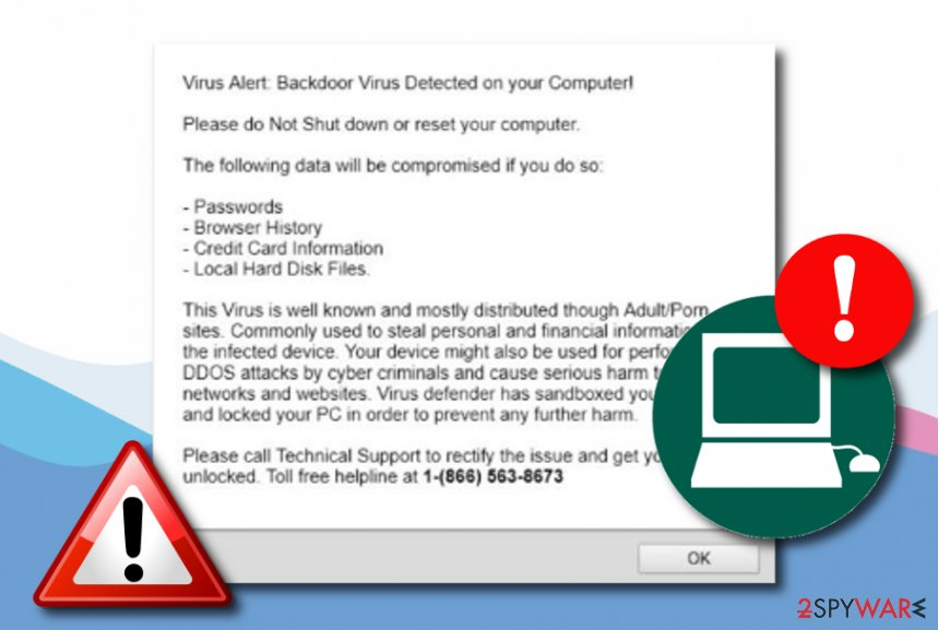 Backdoor virus detected tech support scam