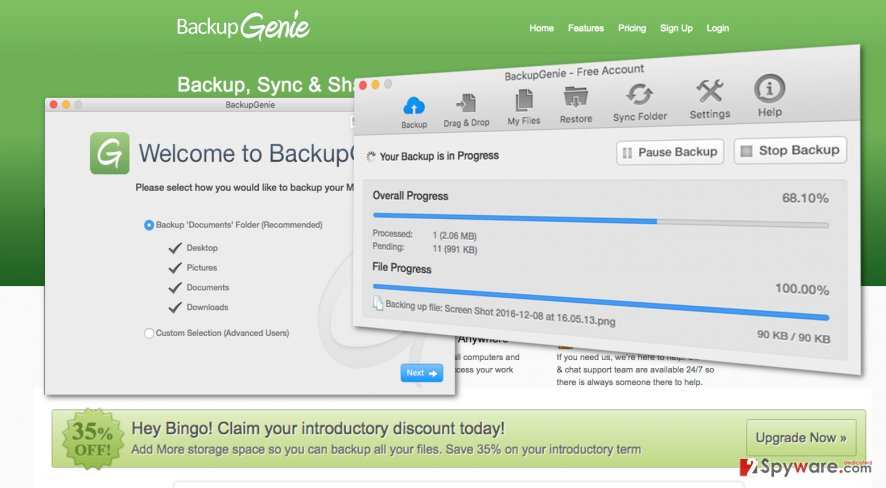 Image of the BackupGenie software