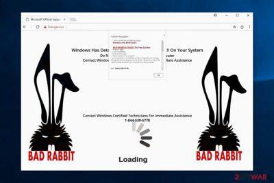 "Screenshot of ""Bad Rabbit Attack"" scam"