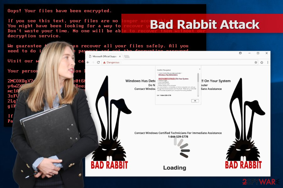 "Image of ""Bad Rabbit Attack"" tech support scam"