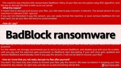 The ransom note left by BadBlock malware
