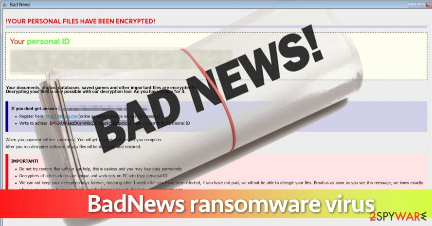 Screenshot of BadNews ransomware virus