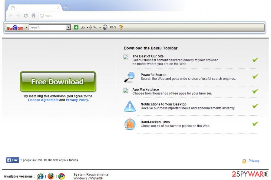 Baidu Toolbar virus