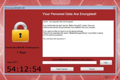 The ransom note by Balbaz ransomware virus