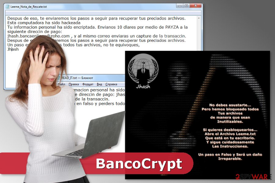Picture of BancoCrypt ransomware virus