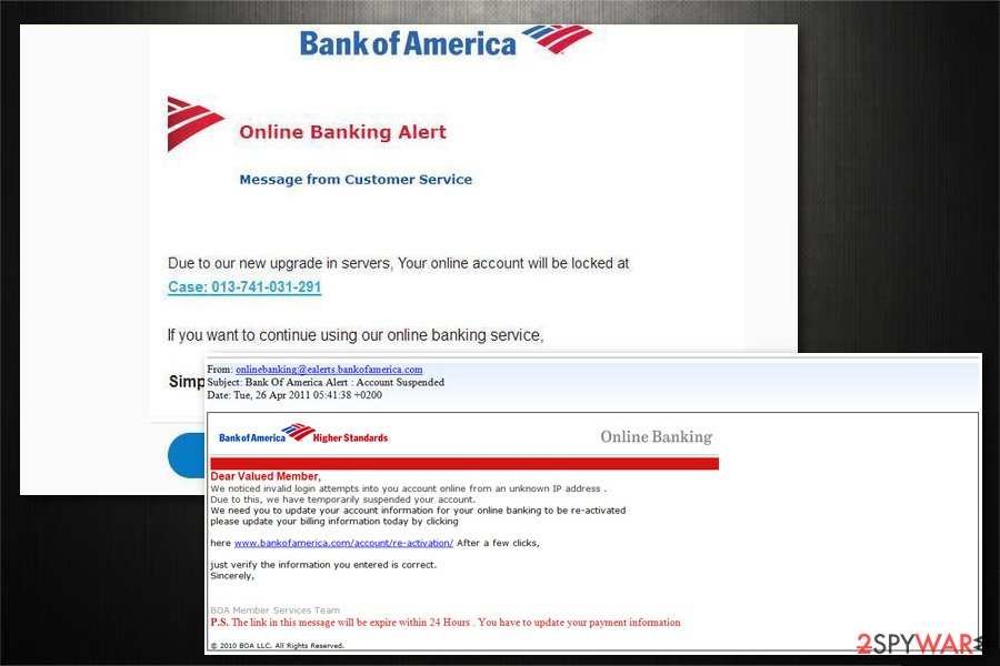 Bank Of America email virus image
