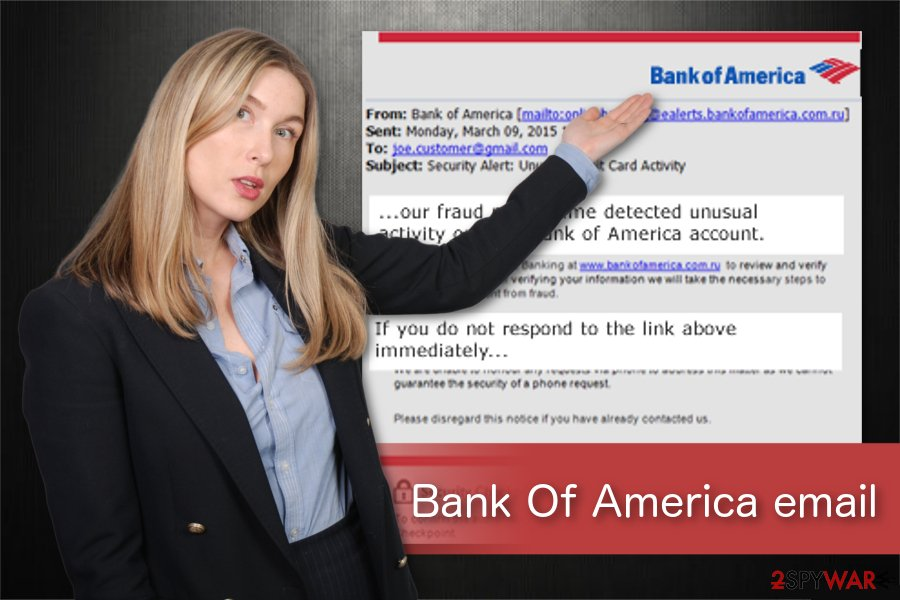Bank Of America email virus illustration