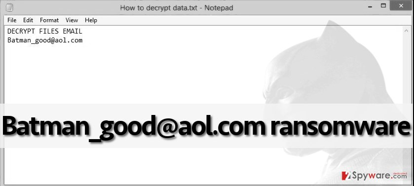 Batman_good@aol.com virus leaves a ransom note