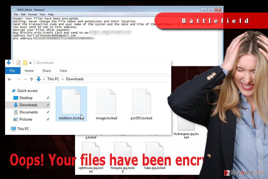 The image of Battlefield ransomware virus