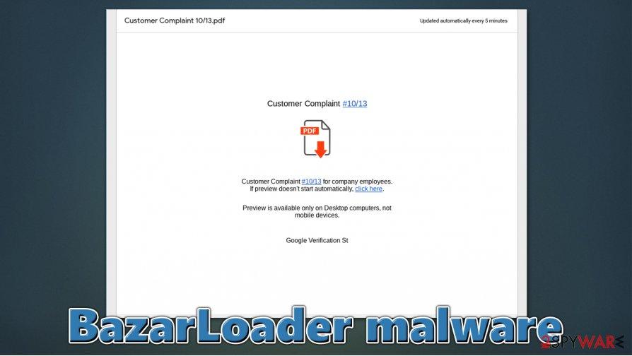 BazarLoader malware distribution