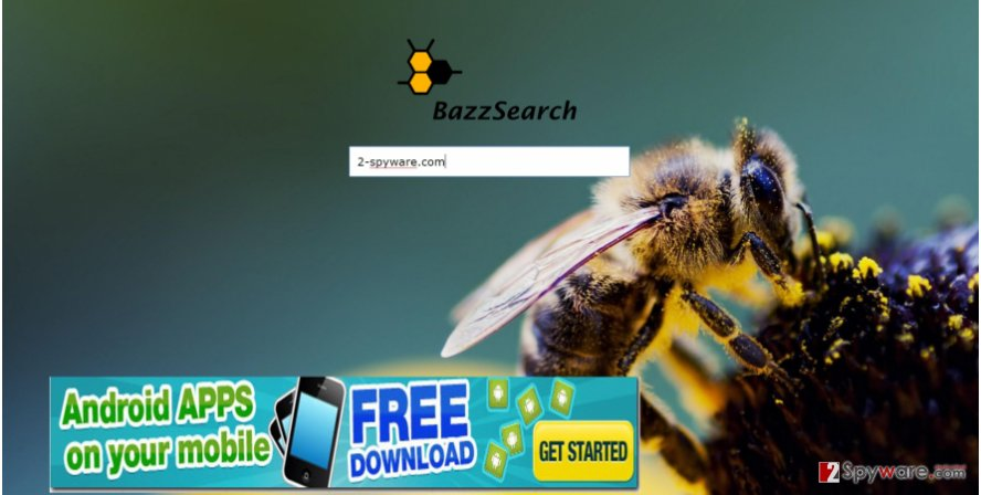 The picture displaying bazzsearch.com virus
