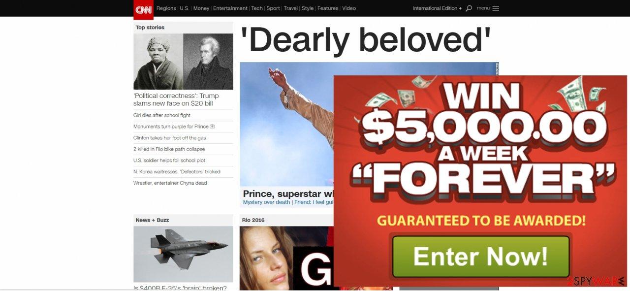 The screenshot showing BestWeb ads