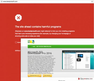 An image of the Bestprosoft.com malware