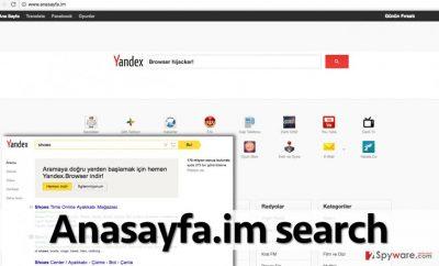Search engine promoted by Anasayfa.im hijacker