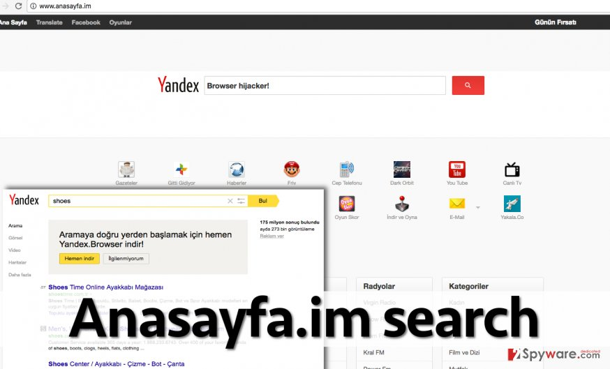 Search engine promoted by Anasayfa.im hijacker