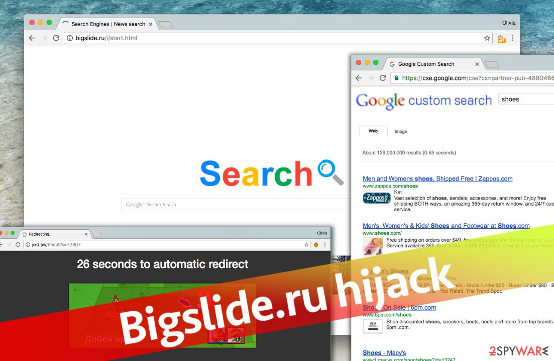 Screenshots of Bigslide.ru search engine and ads