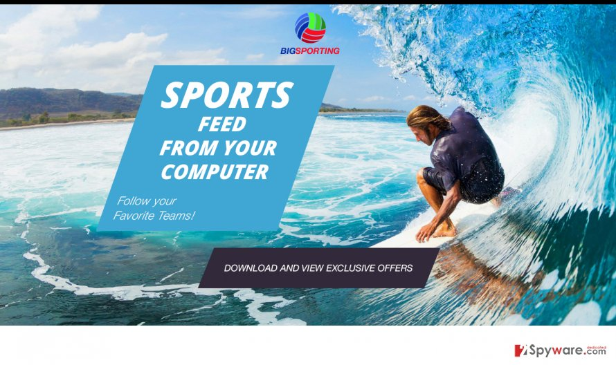 An example of the BigSporting adware download website