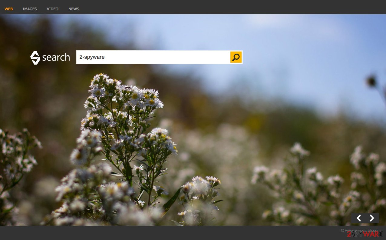 A sceenshot of the Bing Search hijacker website