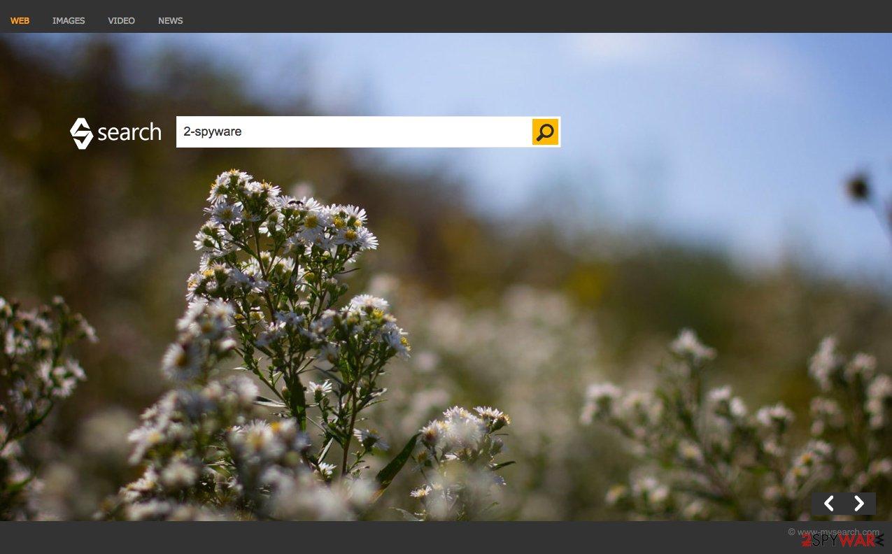 A sceenshot of the Bing Search hijacker website