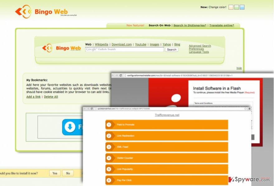 Bingoweb.ga hijacks web browser and sets a new homepage on it