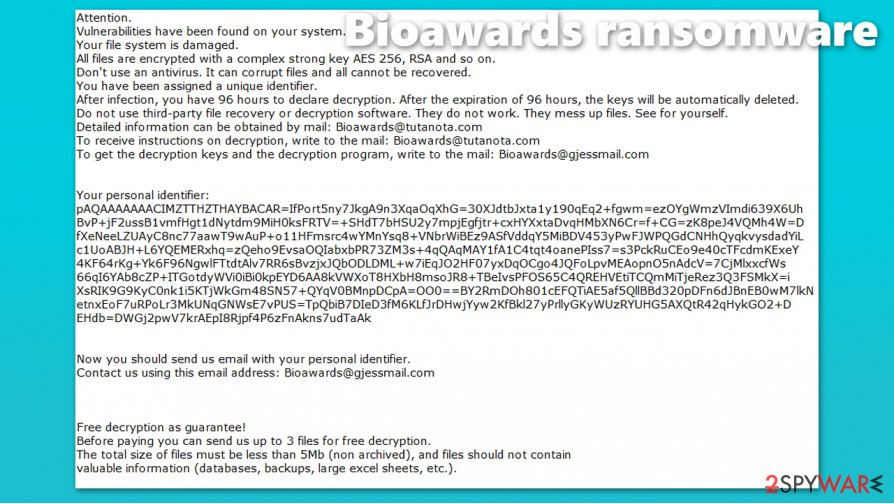 Bioawards ransomware virus