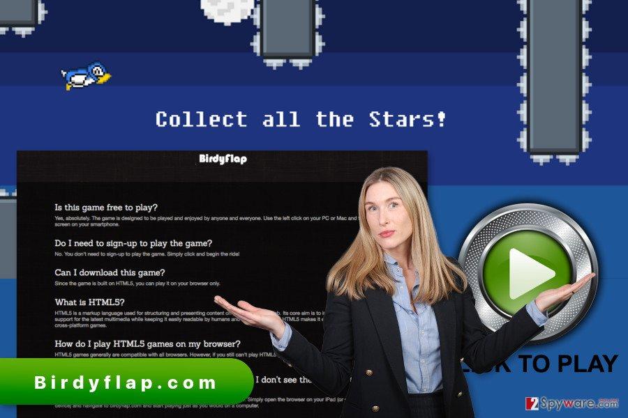 The illustration of Birdyflap.com ads