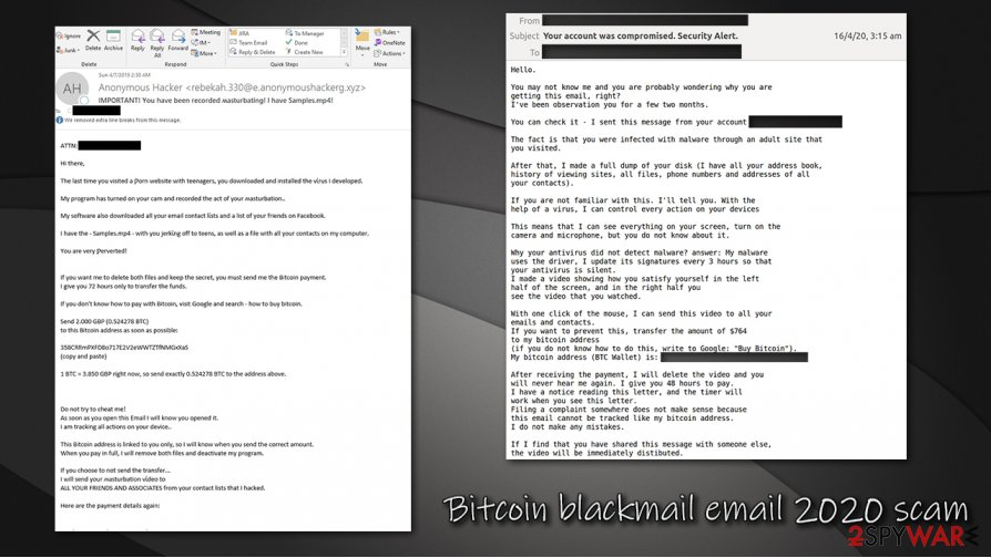 Bitcoin blackmail email 2020 scam