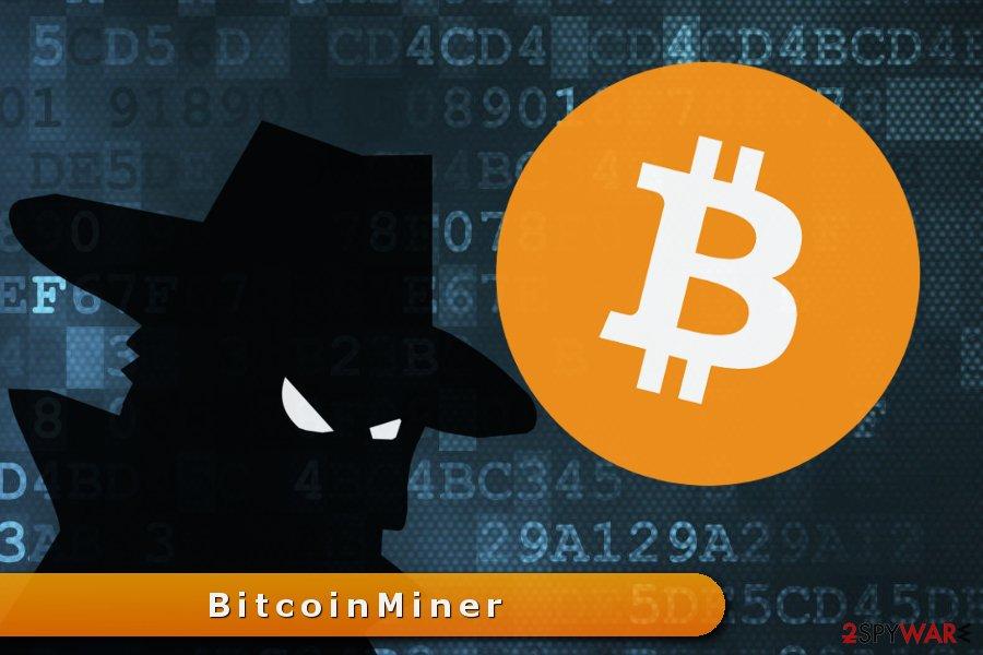 The illustration of Bitcoin mining virus
