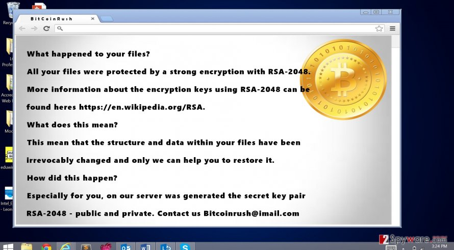 The image revealing BicoinRush ransomware