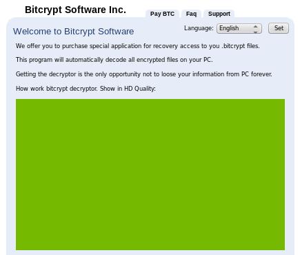 BitCrypt virus snapshot
