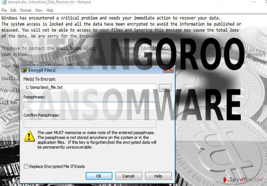 The screenshot of BitKangoroo malware