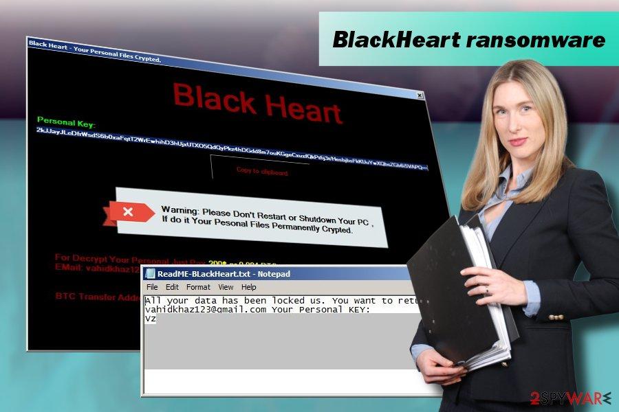 BlackHeart ransomware virus printscreen