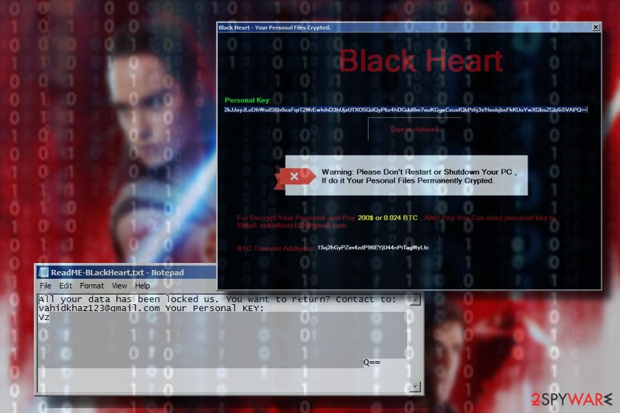 BlackHeart ransomware note