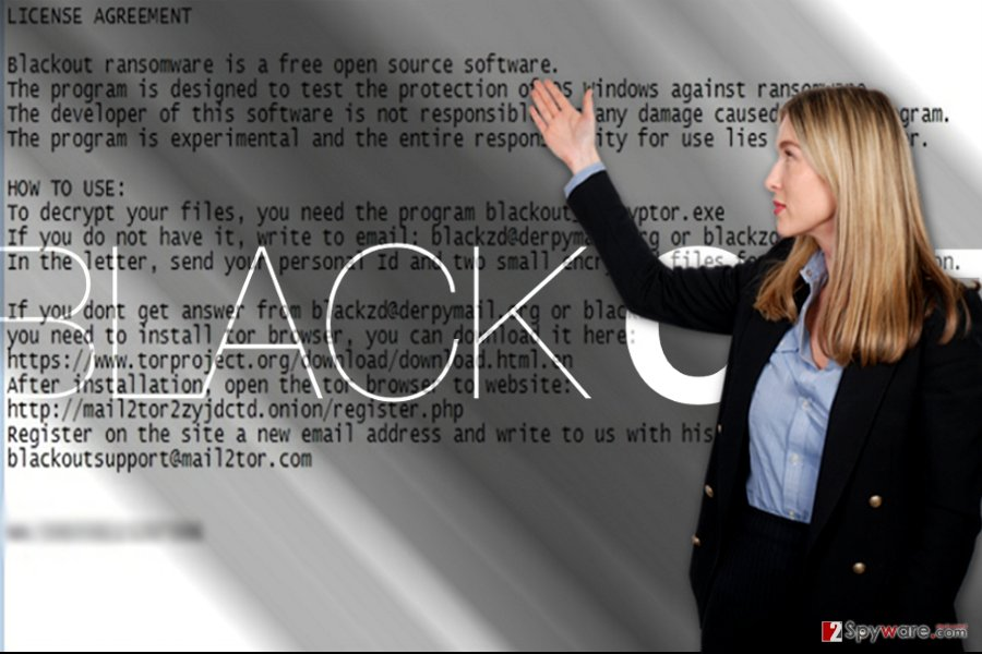 The ransom message of Blackout virus