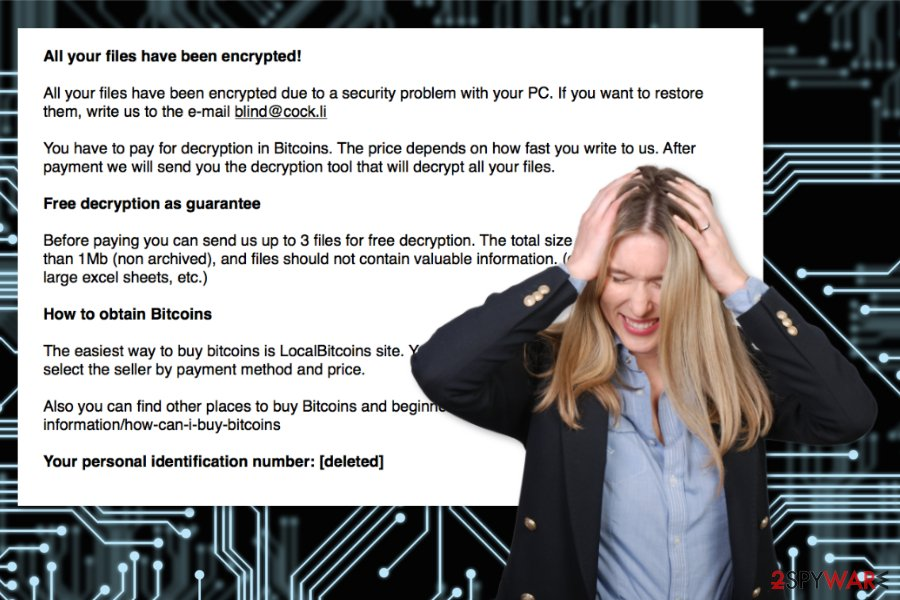 The example of Blind ransomware virus