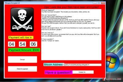 Screenshot of Blooper ransomware virus