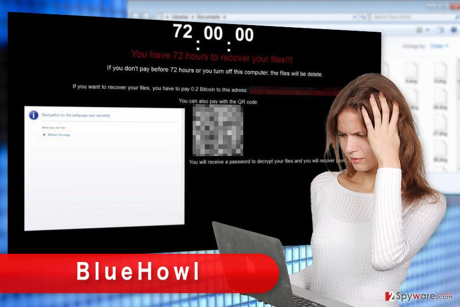 The illustration of BlueHowl ransomware virus