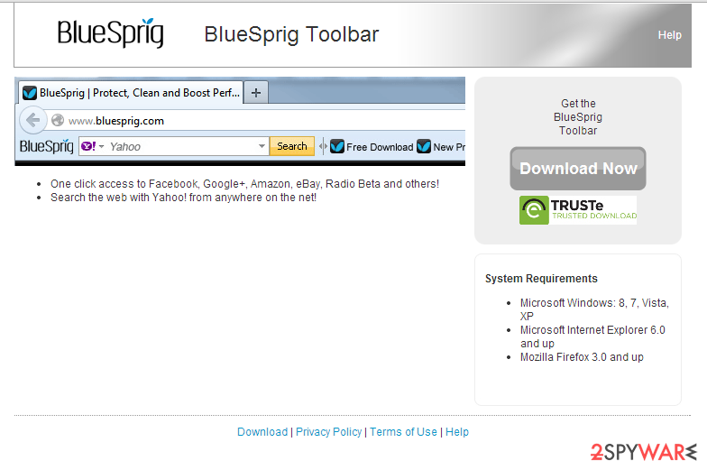 BlueSprig Toolbar snapshot