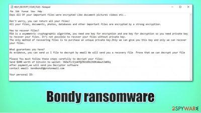 Bondy ransomware