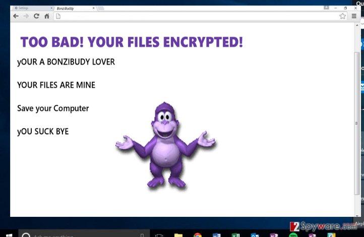 The screenshot of BonziBuddy