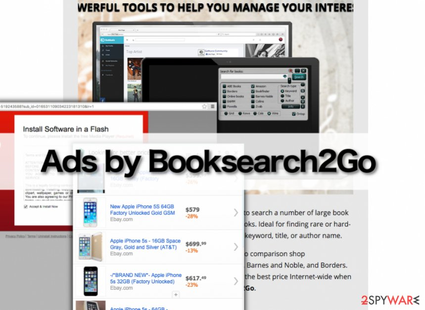 The official website of Booksearch2Go adware and example of Booksearch2Go ads