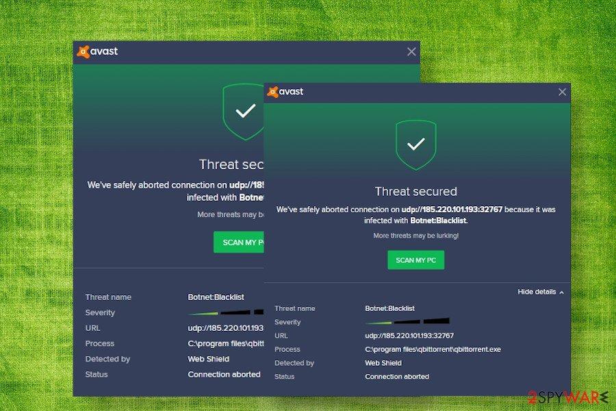 Botnet Blacklist Avast virus