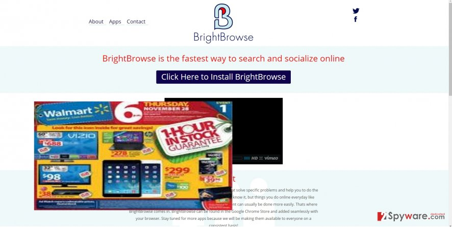 The photo revealing BrightBrowse virus
