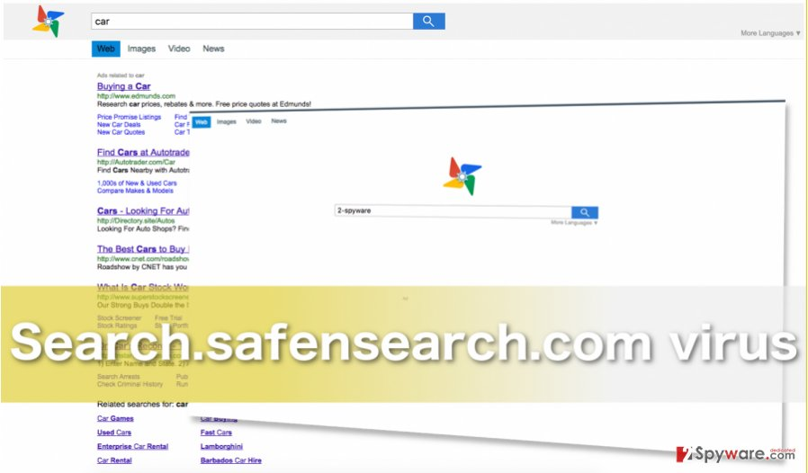 Image of the browser hijacker Search.safensearch.com