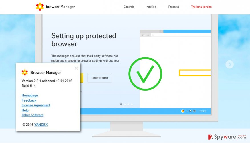 A screenshot of the Browser Manager by Yandex virus