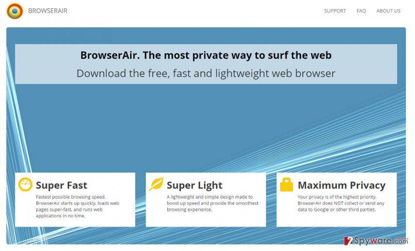 the main page of BrowserAir