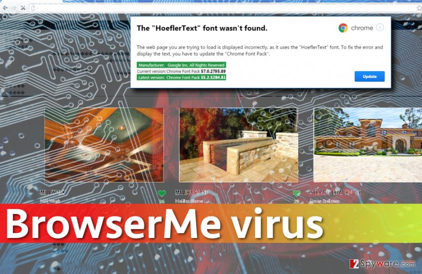 Image of malicious website suggesting to download BrowserMe virus