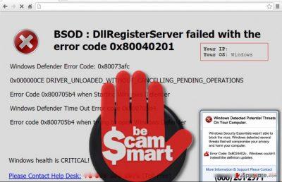 "Image showing ""BSOD : DllRegisterServer failed"" virus pop-up"