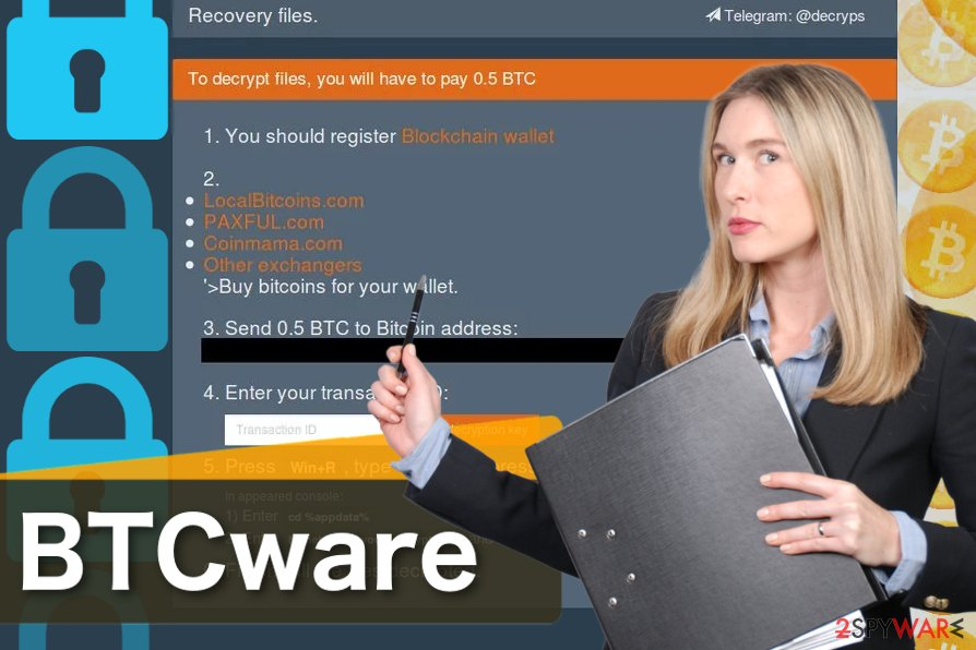 The screenshot of BTCware virus