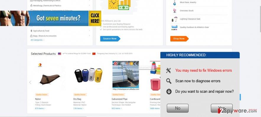 The screenshot of BugFixxer ads